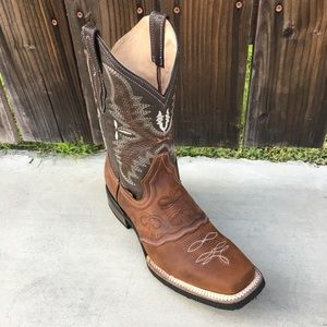 Mens Rodeo Square toe brown leather boots